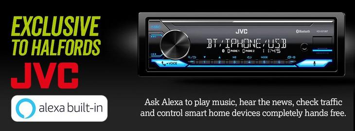 Exclusive to Halfords JVC with Alexa built in